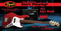 SQUIER STOP DREAMING, START PLAYING! SET: AFFINITY JAZZ BASS WITH RUMBLE 15 AMP Guitar World AUSTRALIA