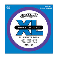 D'Addario, EXL115, 11-49, Nickel, Wound, Blues-Jazz, Rock, Medium, Electric, Guitar, Strings