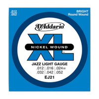 D'Addario, DAEJ21, 12-52, Nickel, Wound, Jazz, Light, Electric, Guitar, Strings