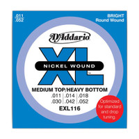 D'Addario, EXL116, 11-52, Nickel, Wound, Medium, Top/Heavy, Bottom, Electric, Guitar, Strings