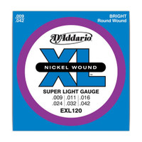 D'Addario, EXL120, 9-42, Nickel, Wound, Super, Light, Electric, Guitar, Strings