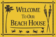 Seaweed Surf 12 Inch x 18 inch Welcome To Our Beach House Surf Decorative Aluminum Sign