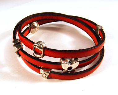 3-Wrap Leather bracelet with mini sliders