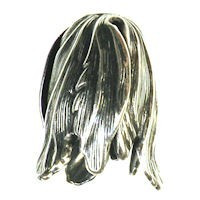 Blooming Tulip End Cap - Oxidized Silver