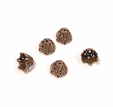 Oxidized Silver Ornate Bead Caps - SWEET!