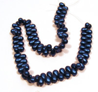 6X4mm Drops - Metallic Suede Blue