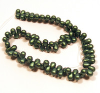 6X4mm Drops - Metallic Suede Green