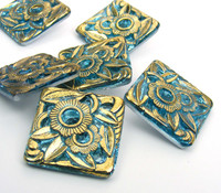22mm Square Aqua Floral Button