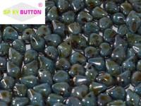 Spiky Button - Chalk White Blue Luster