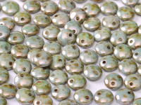 6mm Lentil - Alabaster Blue Luster