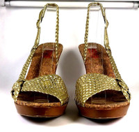 MICHAEL KORS Gold Woven Leather Heeled Sandal SIZE 9