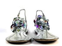 ELIE TAHARI Silver Rosette Thong FLAT Sandal SIZE 36.5