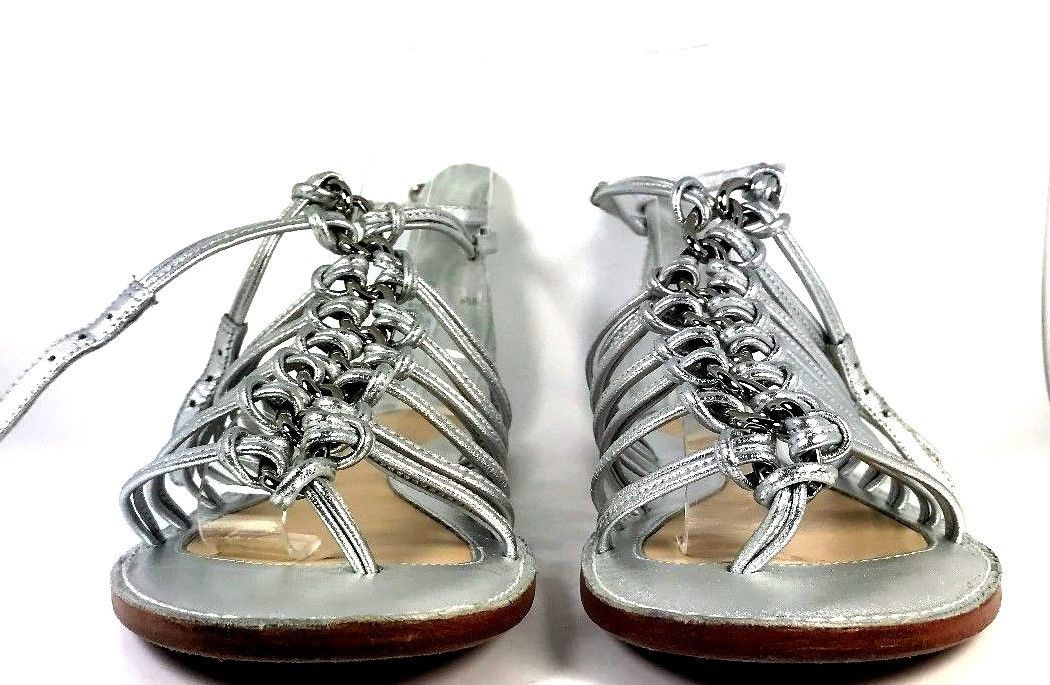 de190135f562 COACH Silver Leather Gladiator FLAT SANDALS SIZE 6.5 - Recycled ...