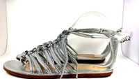 COACH Silver Leather Gladiator FLAT SANDALS SIZE 6.5