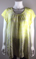 JOIE Yellow Print Short Sleeve Tunic Blouse Size Small