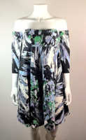 MILLY NEW YORK Blue Floral Strapless Empire Dress Detachable Sleeves Size 4