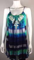 TWELFTH STREET BY CYNTHIA VINCENT Multi Color Print Silk Tunic Tank Blouse Small