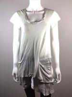 VANESSA BRUNO Light Gray Linen Short Sleeve Tunic Top Blouse Size 1