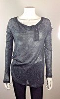 ELIZABETH AND JAMES Gray Long Sleeve Sweater Blouse Size Small