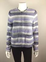 JOIE Blue Striped Knit Zip Front Jacket Size Medium
