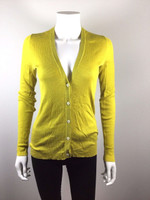 LUTZ & PATMOS Yellow Lightweight Cotton Silk Ribbed Cardigan Sweater Size Small