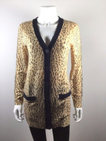 RACHEL ROY Leopard Print Long Sleeve Silk Blend Cardigan Sweater Size Small