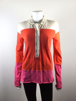 CLOSED Orange Pink Ivory Henley Long Sleeve Button Front Blouse Size Small