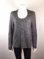 EILEEN FISHER Black Scoop Neck Long Sleeve Sweater Size X Large