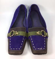 COLE HAAN Blue and Green Suede Leather Flat Loafer Size 8