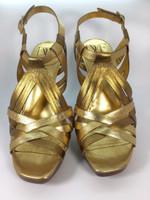 DIANE VON FURSTENBERG DVF Gold Bronze Leather Heeled Sandal Pump Size 7