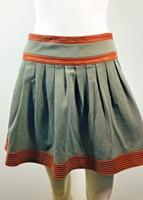 DIANE VON FURSTENBERG Pleats Please Leather Trimmed Mini Skirt Size 2