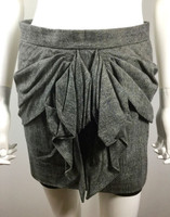 TIBI Gray Pleated Front Mini Skirt Size 2
