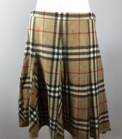 BURBERRY LONDON Tan Plaid Knee A Line Length Skirt Size 8