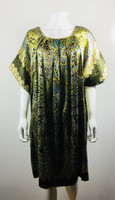 ANNA SUI Green Floral Short Sleeve Dress Size Medium