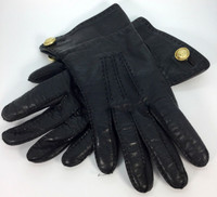 BARRY KIESELSTEIN CORD Black Leather Wool Lined Gloves Size 6.5