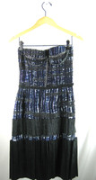 BOTTEGA VENETA Navy Blue Black Print Strapless Cocktail Dress Size 38
