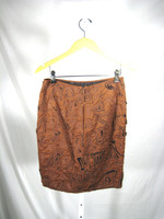 CATHERINE MALANDRINO Brown Black Cut Out Cotton Silk Skirt Size 6