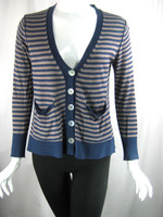 CHAN LUU Blue Taupe Striped Long Sleeve Cardigan Sweater Size Small