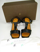 "CHIE MIHARA Black Leather ""Wamari"" T Strap Heeled Sandal Size 36.5 $360"