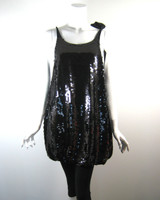 SEE BY CHLOE Black Sequin Silk Tunic Dress Size S/M