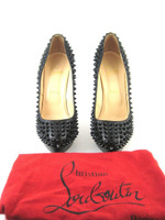 CHRISTIAN LOUBOUTIN Black Leather Spiked Platform Pump Heel Size 38.5