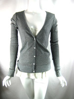 CLU Gray Ribbed Long Sleeve Button Front Blouse Tee Silk Trim Size Small