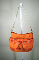 COLE HAAN Orange Canvas Shoulder/Crossbody Handbag w/ Leather Detail