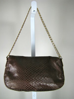 COLE HAAN Brown Leather Shoulder Handbag w/ Chain Handle & Crossbody