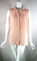 CYNTHIA ROWLEY Peach Sleeveless Button Front Tank Blouse Size Large