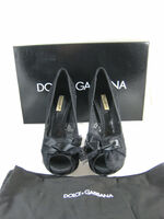 DOLCE & GABBANA Black Lace Peep Toe Platform Heel Size 37 IN BOX