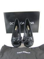 DOLCE & GABBANA Black Lace Peep Toe Platform Heel Size 37 IN BOX