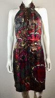 TRINA TURK Red Multi Floral Silk Sleeveless Belted Halter Dress Size 4