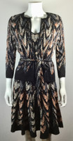 BCBGMAXAZRIA Black Multi Short Sleeve Violet Dress Cardigan Set Size X Small