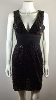 BCBGMAXAZRIA Black Sequin Sleeveless Cocktail Dress Size X Small